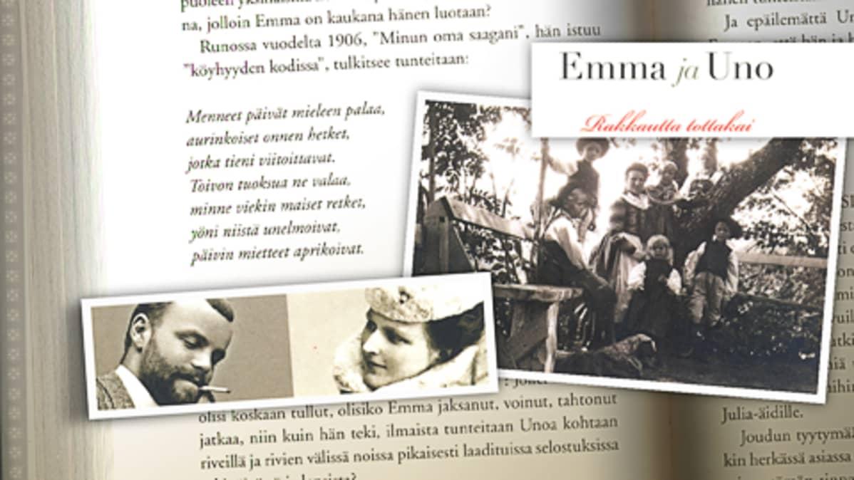 Emma ja Uno - rakkautta tottakai -kirjan aukeama