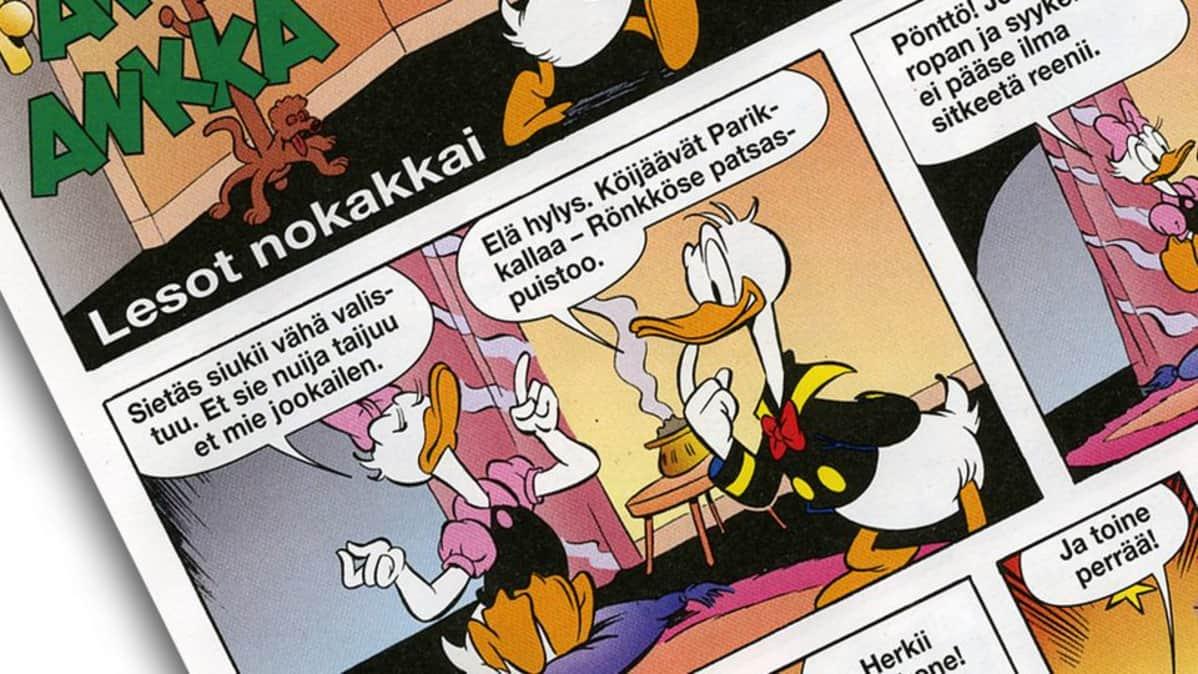 Osa Aku Ankka -lehden sivua.