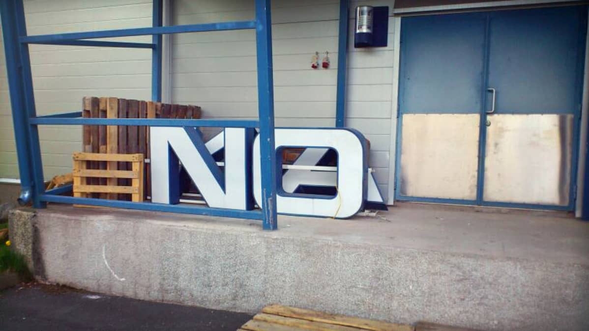 A dismantled Nokia sign at Oulu's Technology Village.