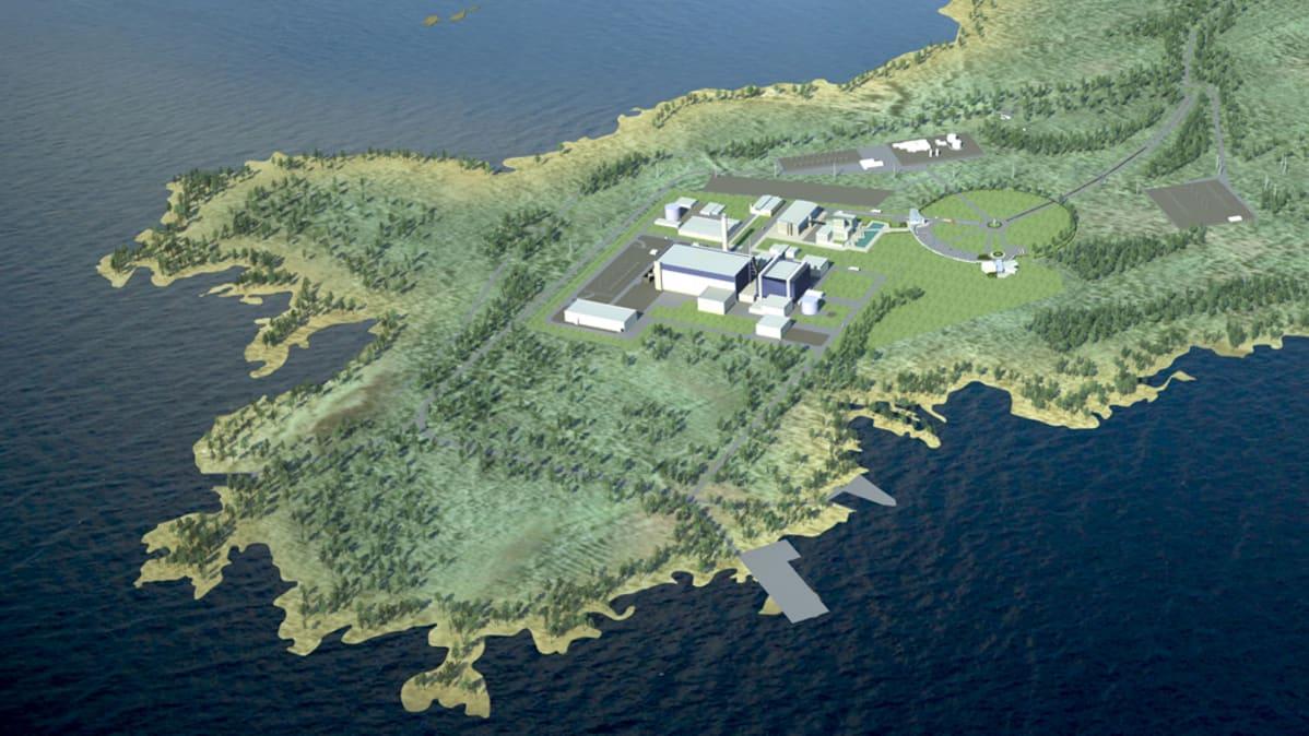 Havainnekuva Fennovoiman Pyhäjoen ydinvoimalasta