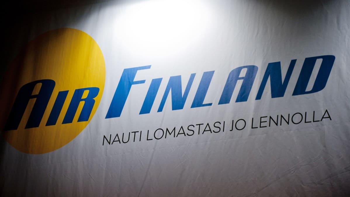 Air Finland -yhtiön mainos Matka 2012 -messuilla Messukeskuksessa tammikuussa 2012.