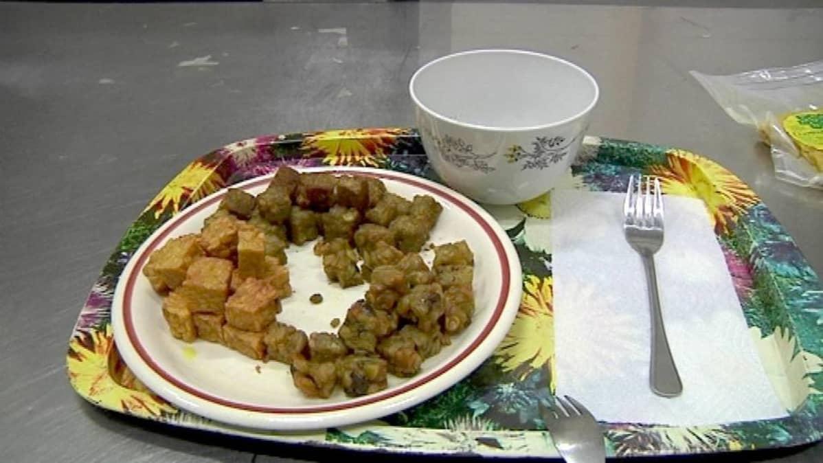 Suomalaisesta lupiinista ja herneestä syntyy kansainvälistä ruokaa, indonesialaista tempeä jota on lautasella. Palaset ovat ruskehtavia.