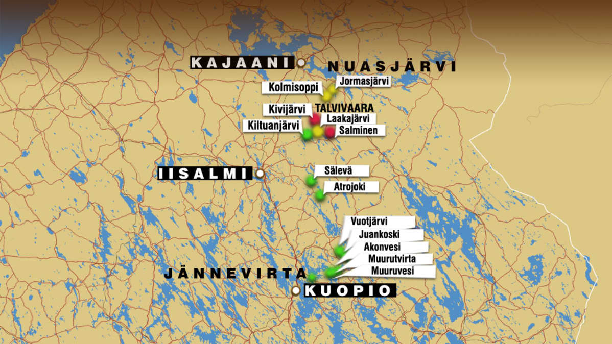 Grafiikka Talvivaaran nikkelikaivoksen vesistövaikutuksista.