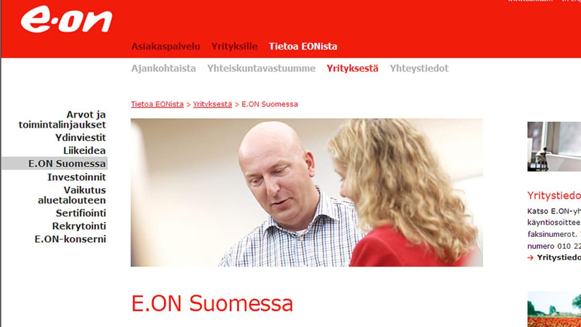 Kuvakaappaus E.On -yhtiön nettisivulta.