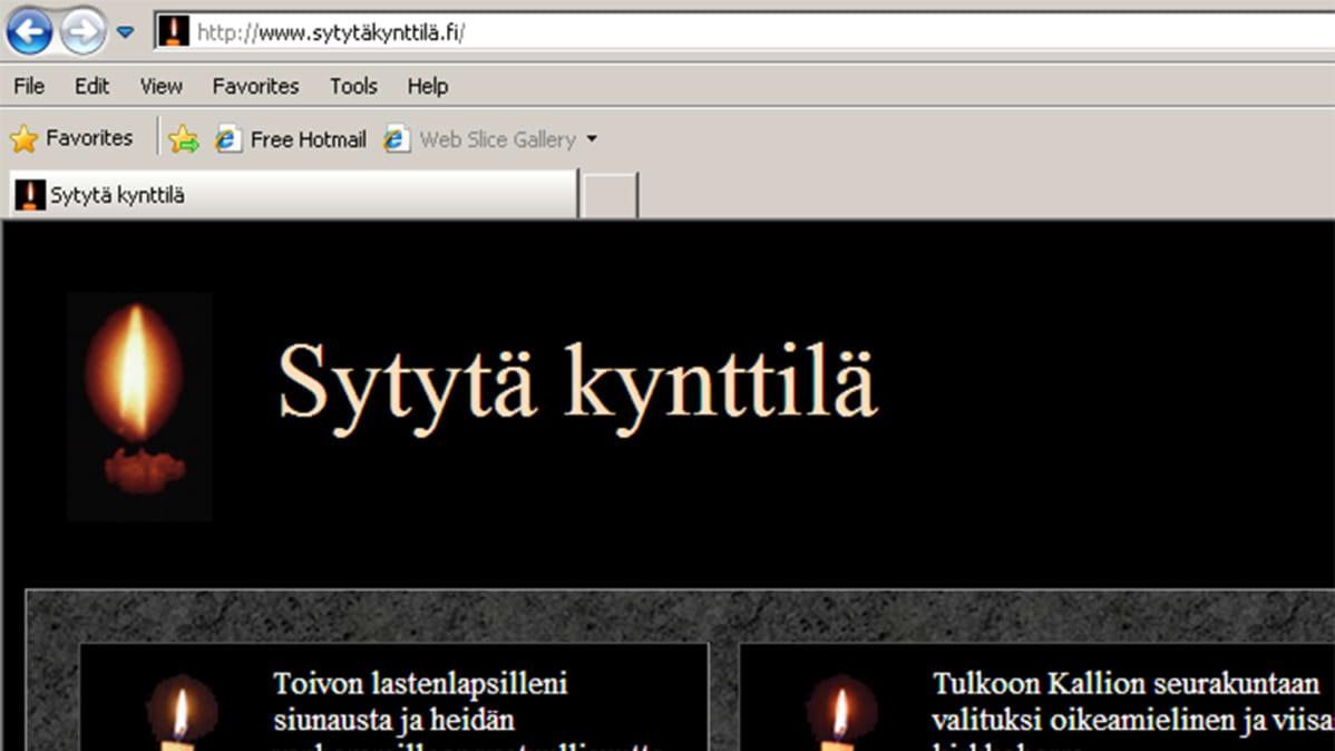 Sytytä kynttilä nettisivun etusivu.