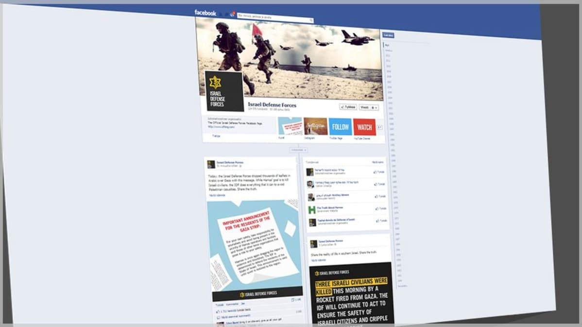 Kuvarevinnäinen ja grafiikka Israelin puolustusvoimien facebook-sivuista.