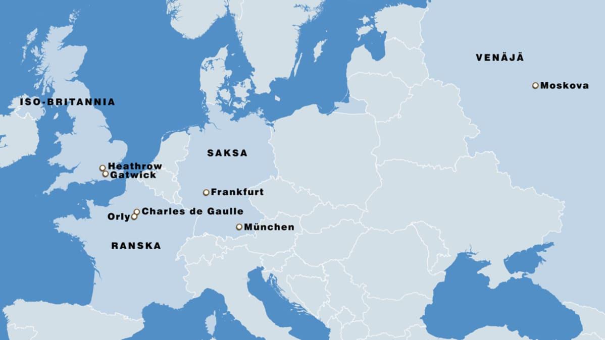 Lumisade Sotkee Lentoliikennetta Yha Useilla Euroopan Kentilla