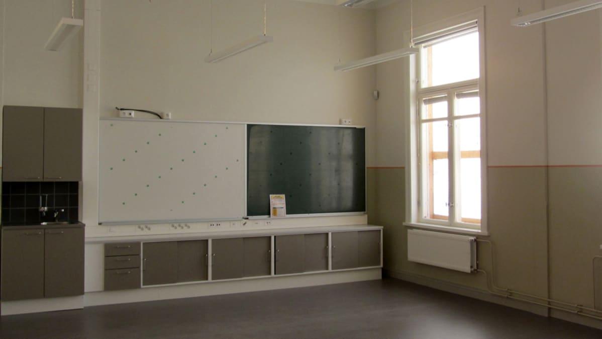 Kuvassa tyhjä luokkahuoneen nurkkaus