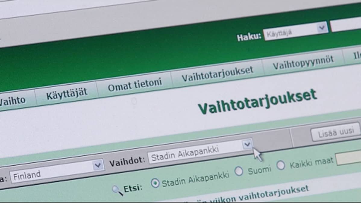 Stadin aikapankki www-sivu.