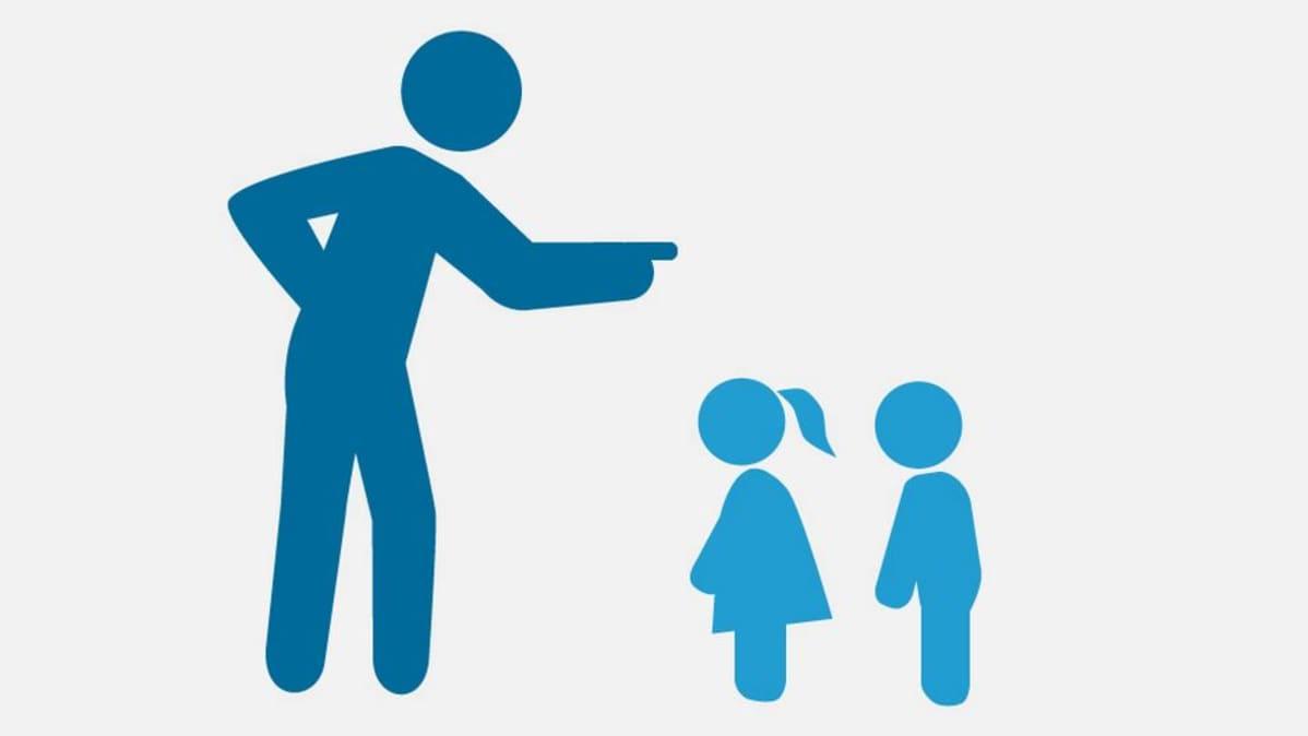Uutisgrafiikka, jossa aikuishahmo heristää sormea lapsihahmoille