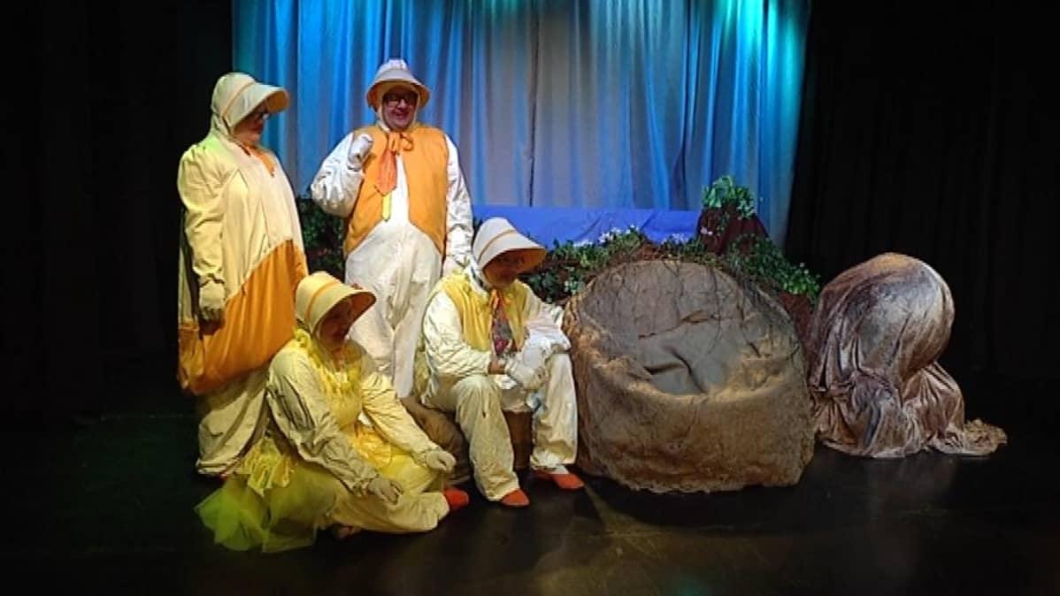Kehitysvammaiset esittämässä näytelmää Porvoon teatterin lavalla.
