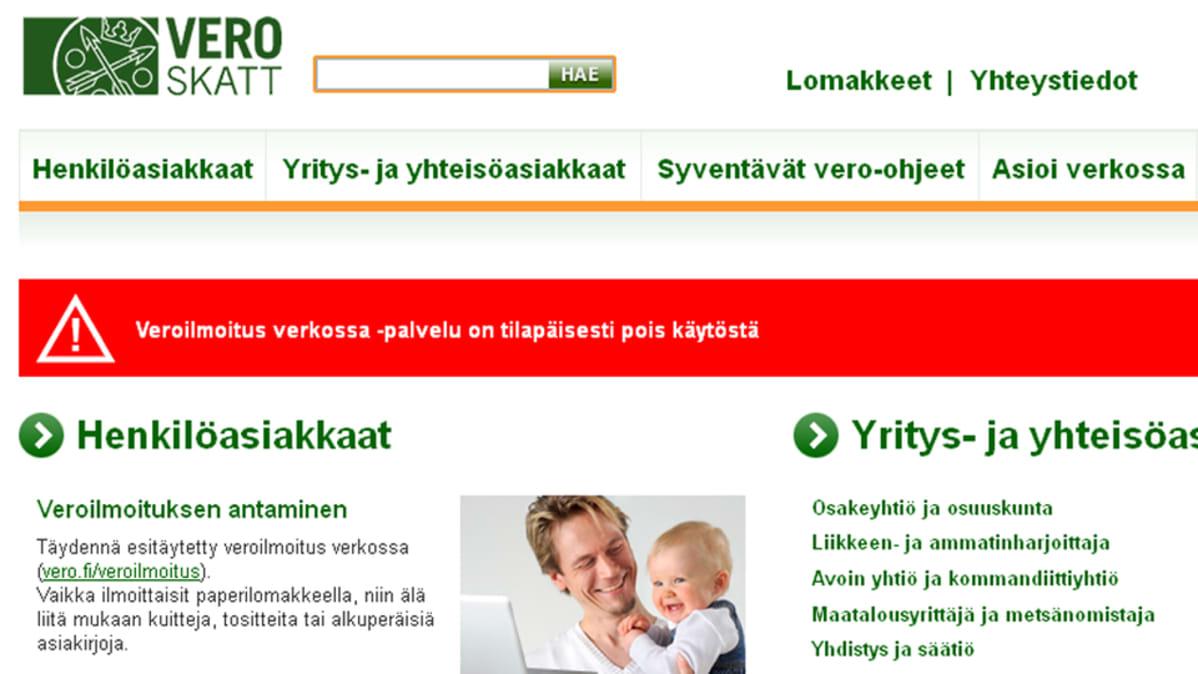 Vero.fi sivut ovat kaatuneet.