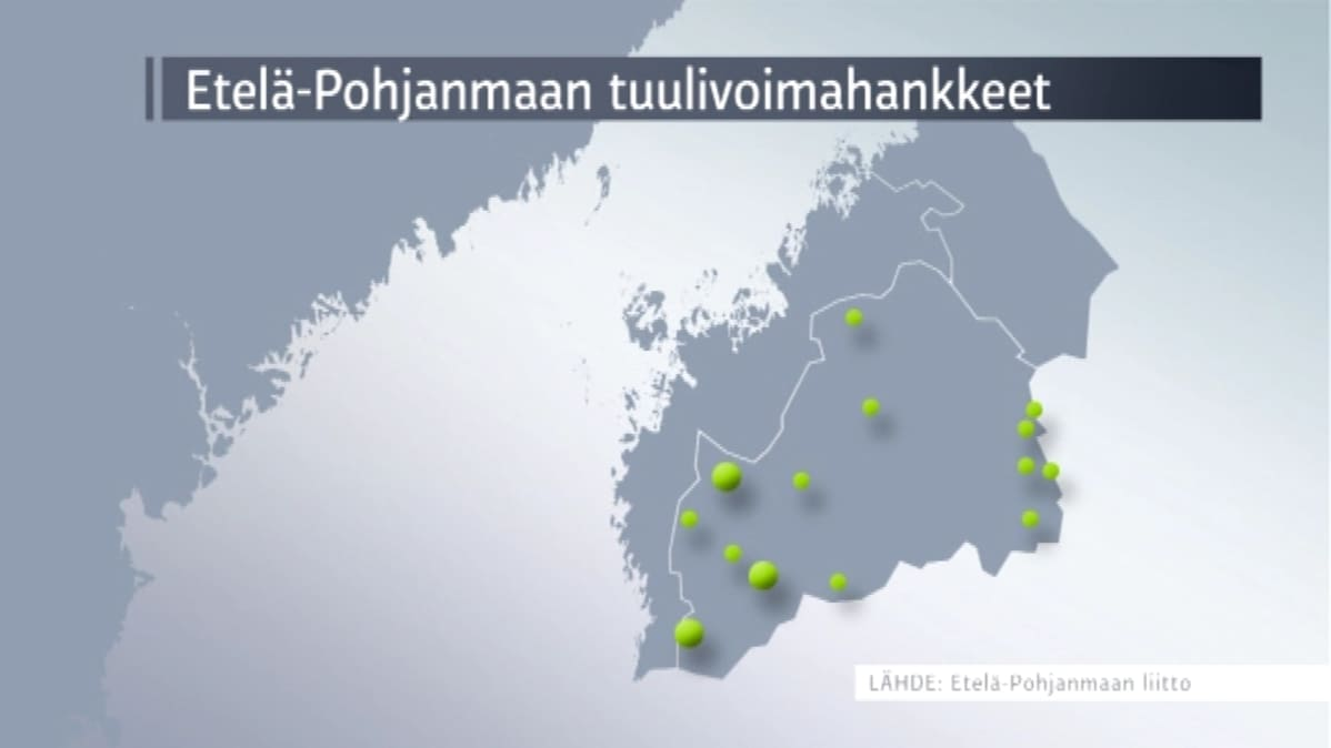 Etelä-Pohjaanmaalla on vireillä 400 tuulivoimalaai.