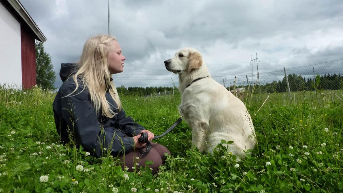 Eläinkouluttajaopiskelija Sinikka Moilanen ja Wilma koira