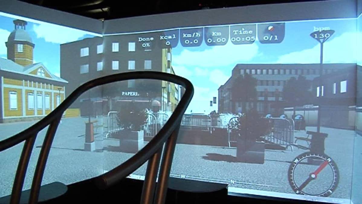 Suunnistussimulaattori näyttää Kajaanin Raatihuoneentoria.