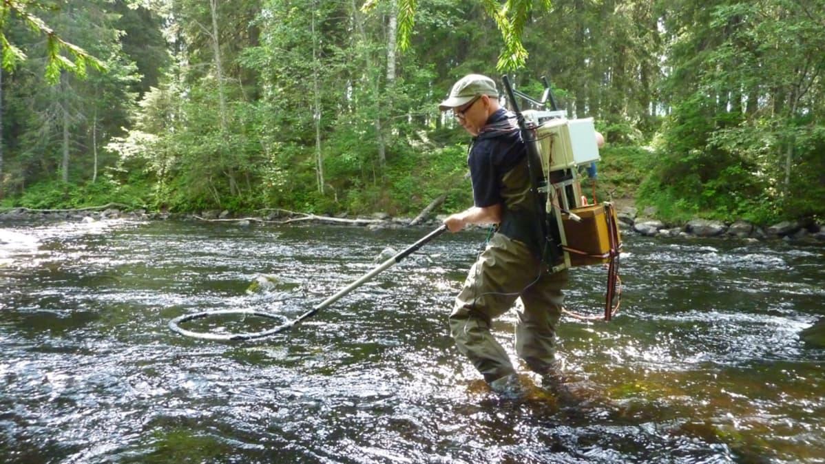 Pekka Hyvärinen paikantaa kaloja.