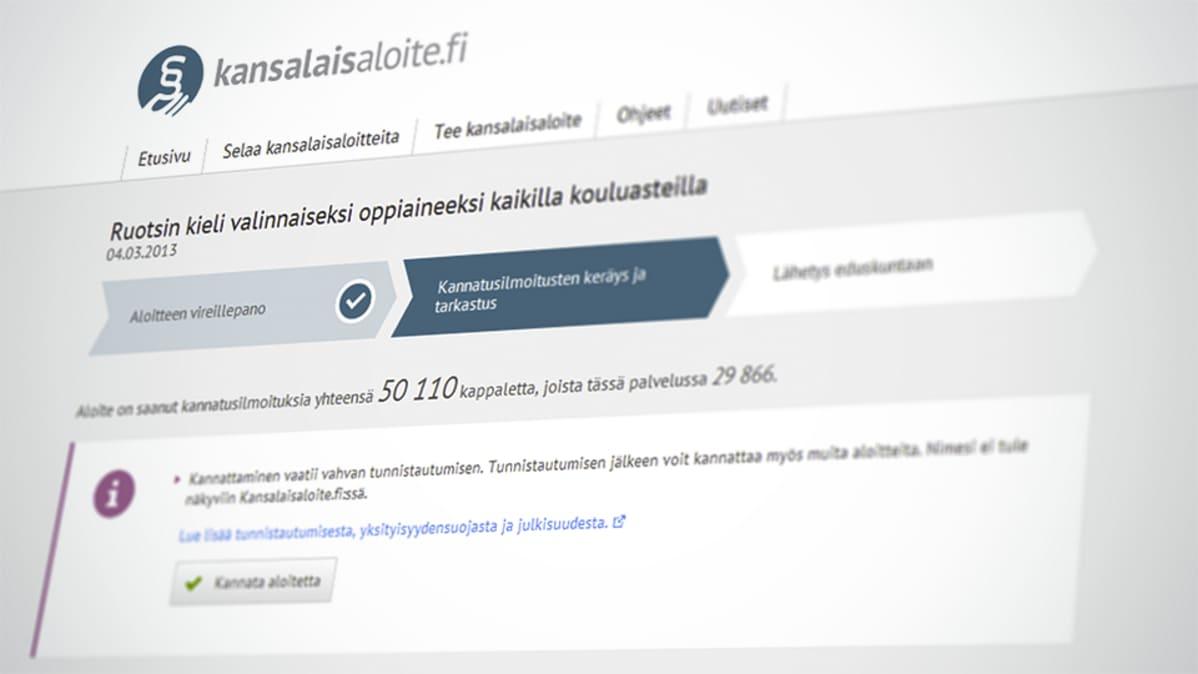 Kuvakaappaus kansalaisaloite.fi:stä
