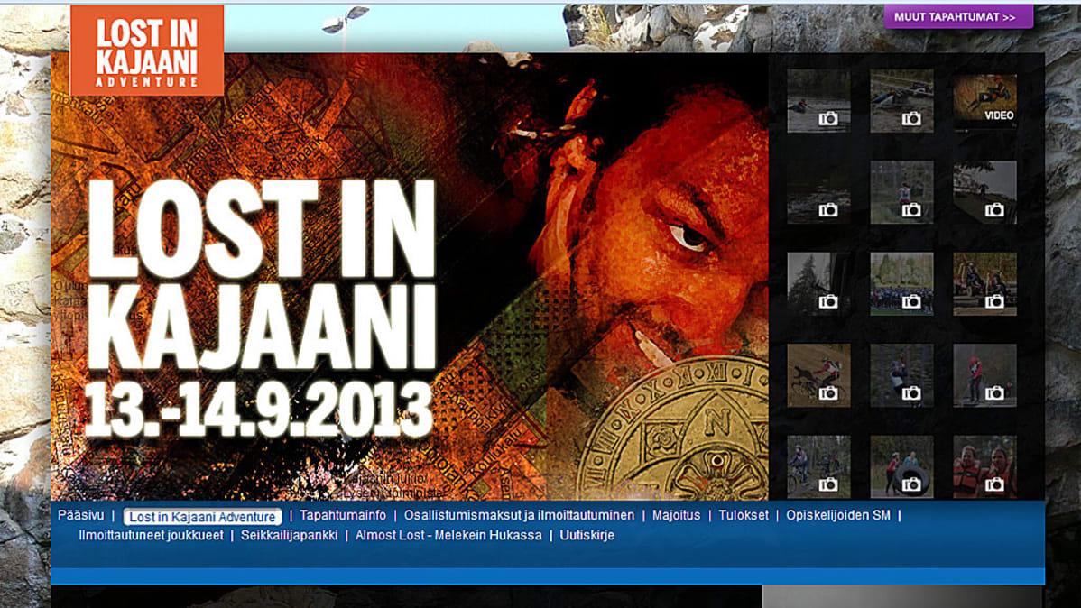 Lost in Kajaani -seikkailu-urheilutapahtuman nettisivu.