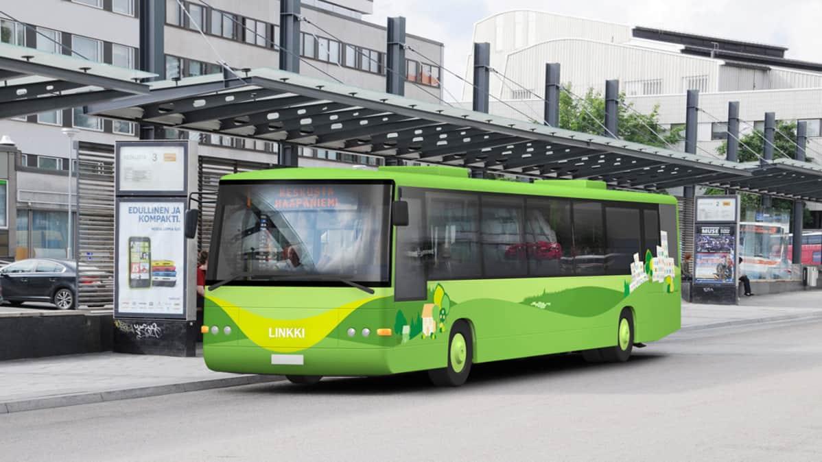 Uudet vihreät paikallisbussit tulevat Jyväskylän kaupukikuvaan heinäkuussa 2014.
