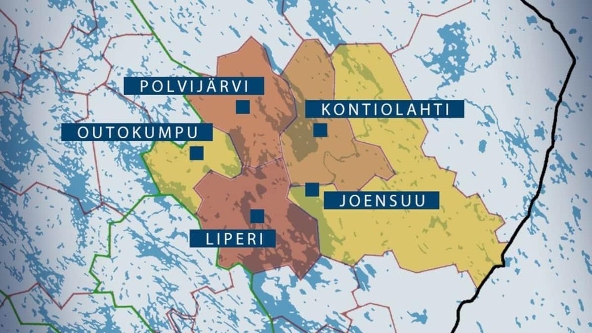 Ehdotus Joensuu Kontiolahti Liperi Polvijarvi Ja Outokumpu