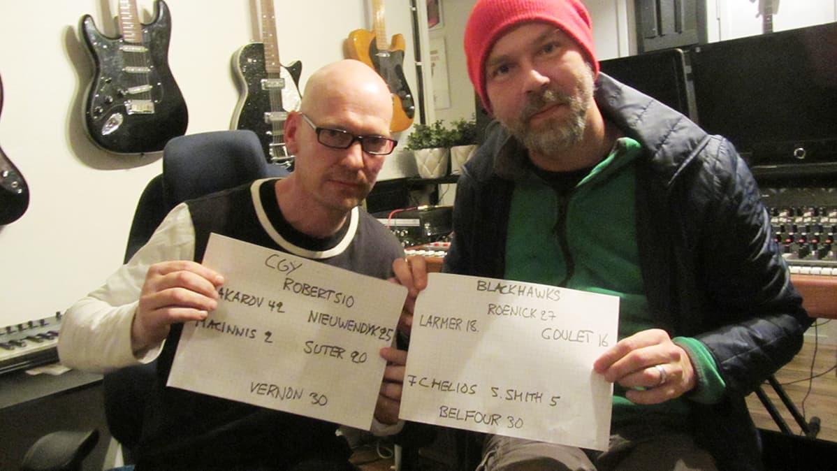 Petri Nikupaavo ja Tommi Lahtonen esittelevät ruutupaperille kirjoitettuja 92/93 kauden ykköskentällisiään.
