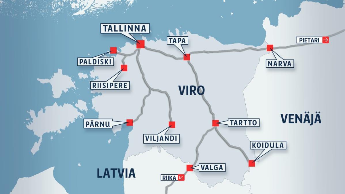 Kartassa näkyy Viron rautatieverkko.