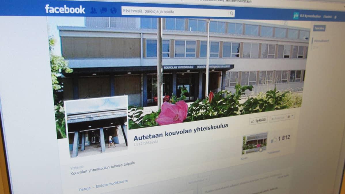 Kouvolan yhteiskoulun oppilaiden Facebook-tukiryhmän etusivu.