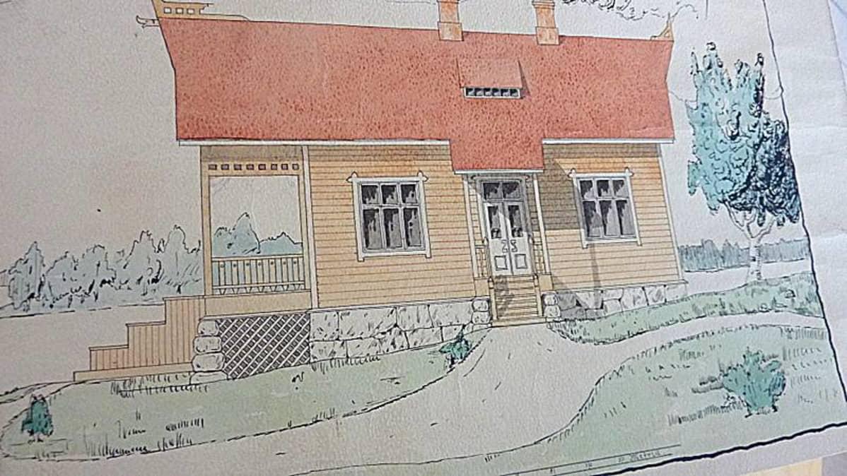 Mäntyharjun Kesäranta-huvilan rakennuspiirrustukset vuodelta 1906.