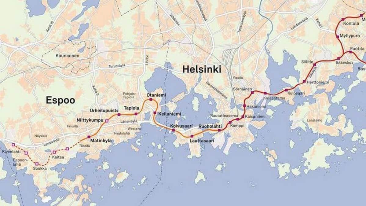 Karttakuva länsimetrosta sekä mahdollisesta länsimetron jatkeesta.