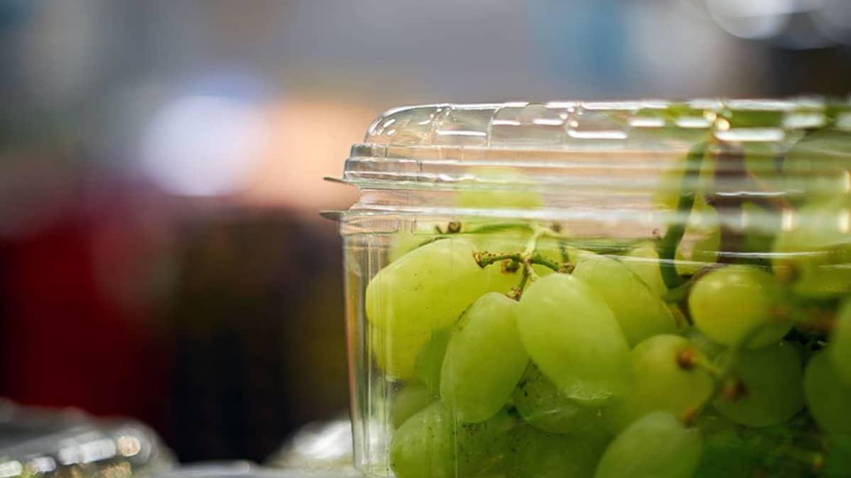 Viinirypäleitä kaupan hedelmätiskillä.