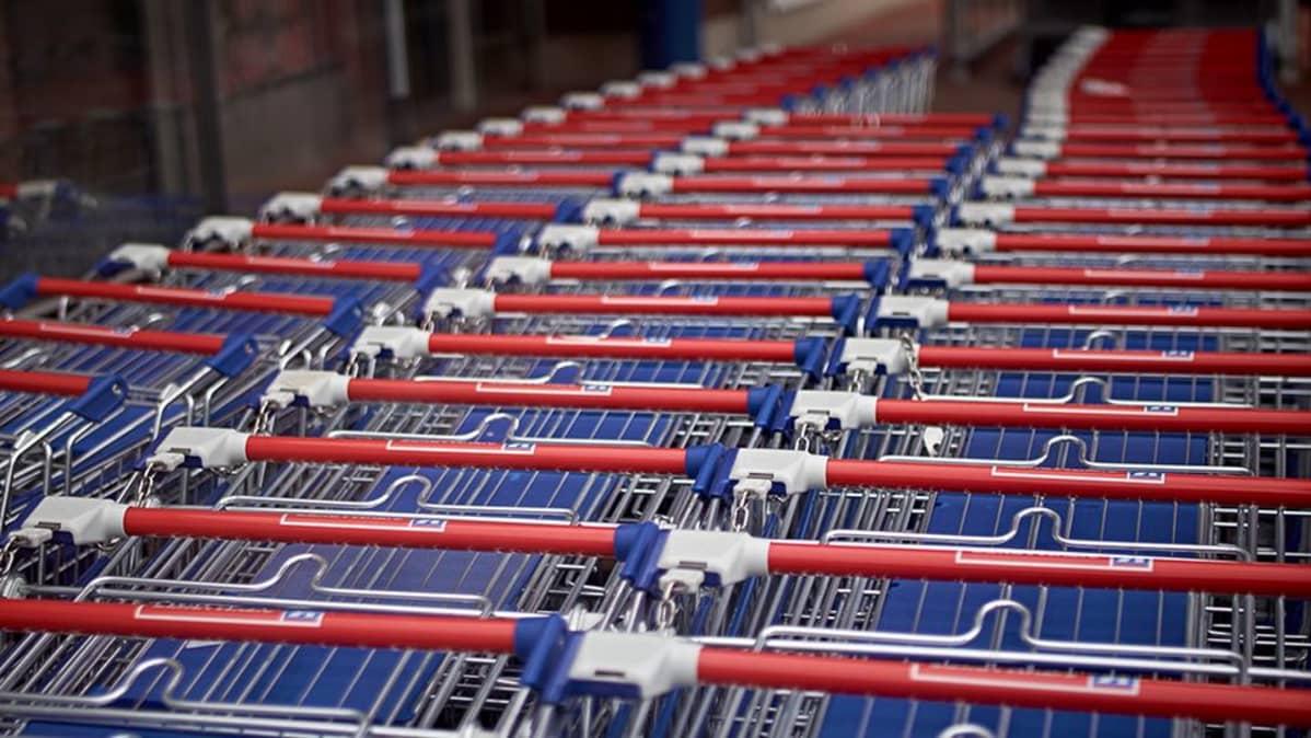 Ostoskärryjä kaupan edustalla.