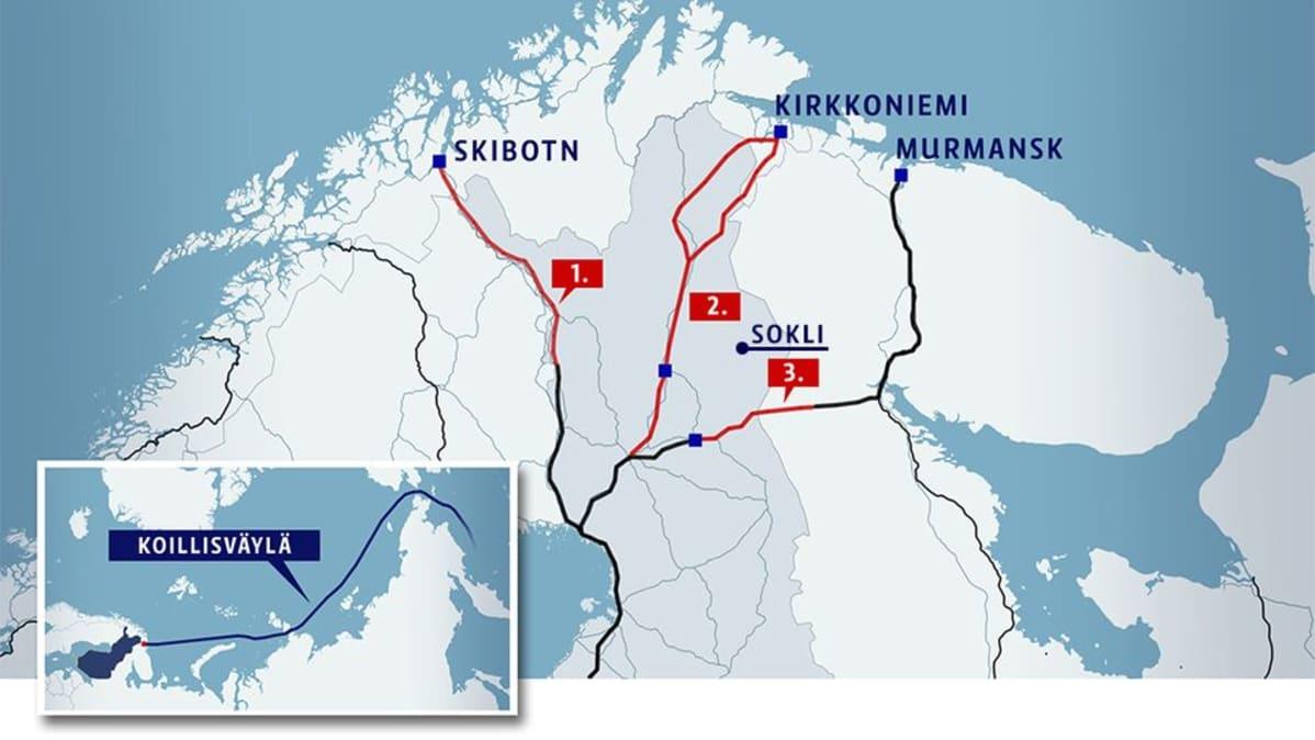 Kartta. Soklista Sodankylään ja Rovaniemelle rakennettava rata olisi ensimmäinen vaihe Jäämeren radan rakentamisessa ja se palvelisi myös Yaraa, joka voisi myöhemmin kuljettaa Soklin fosforia Jäämeren kautta isommilla laivoilla maailmalle ja Koillisväylälle.