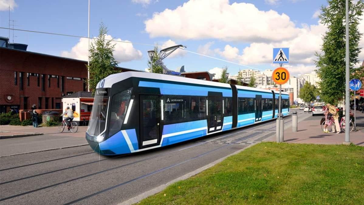 Havainnekuva, jossa raitiovaunu Hervannassa Insinöörinkadulla.