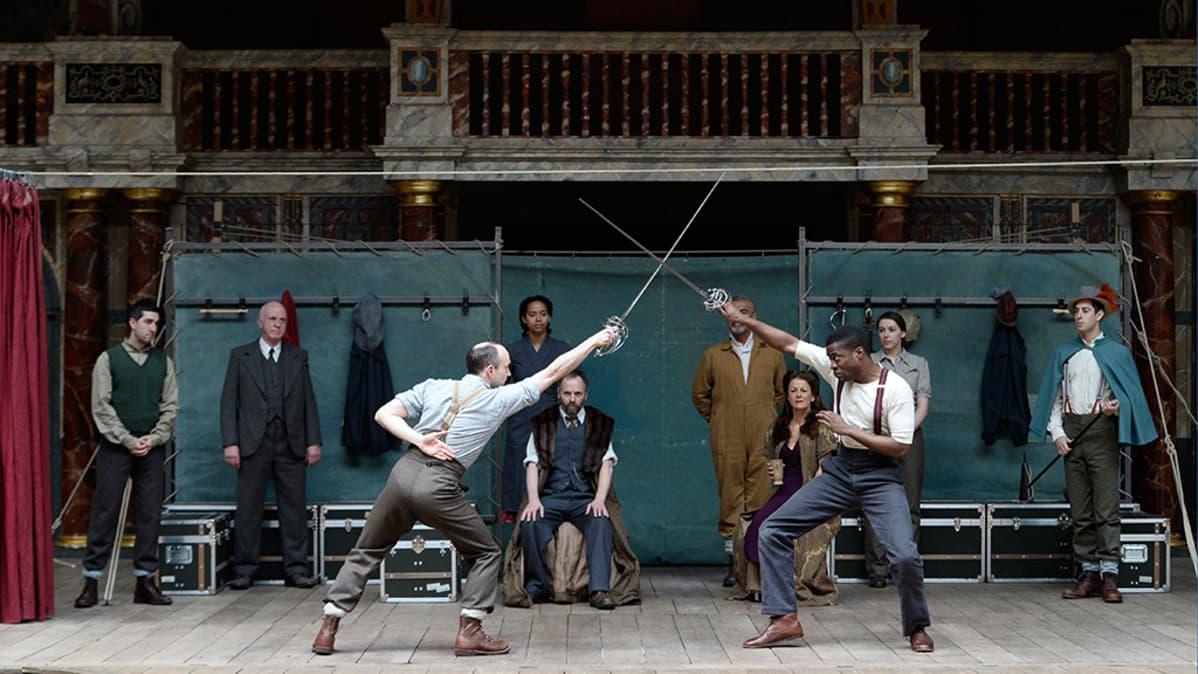 Globe to Globe Hamlet -näytelmän harjoitukset huhtikuussa 2014.