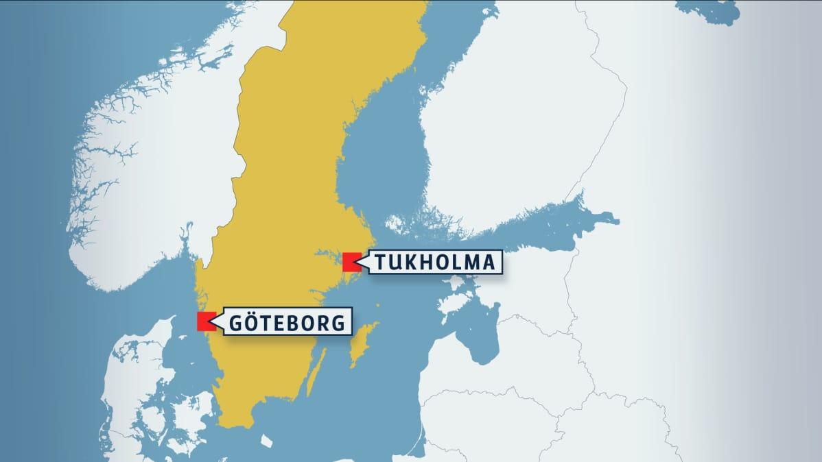 Kartta, jossa Ruotsin Göteborg.