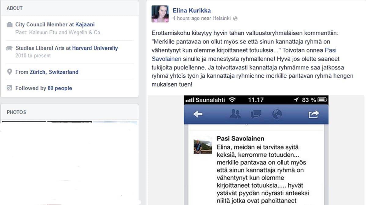 Kuvakaappaus Elina Kurikan julkisesta FB-profiilista.