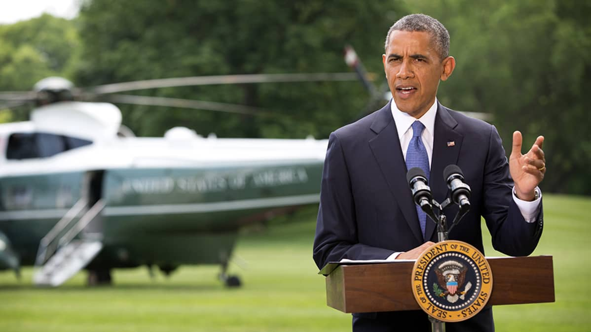 Barack Obama puhuu.