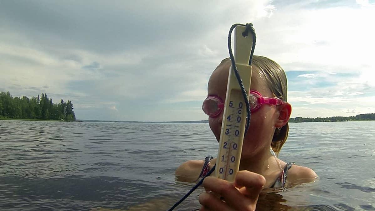 Uimaveden lämpötila Nuasjärvessä nousi heinäkuussa yli 24 asteen.