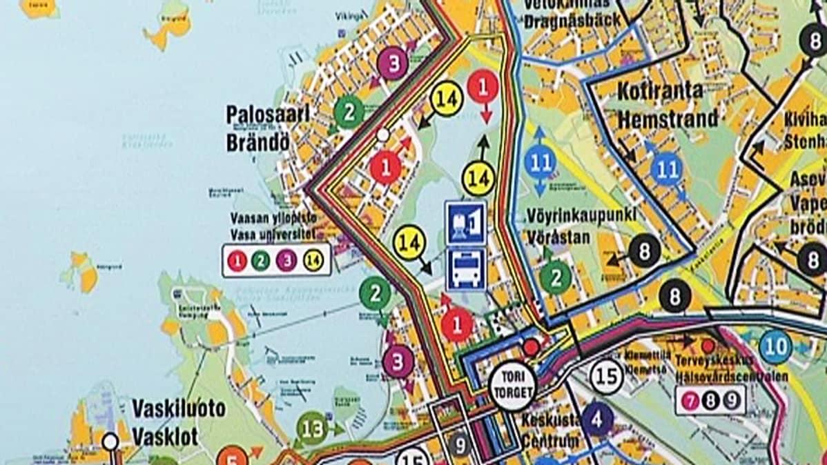 Kartta Vaasan uusista bussilinjoista.