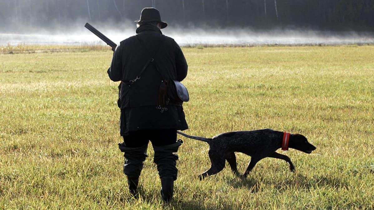 Mies metsästää koiran kanssa pellolla.