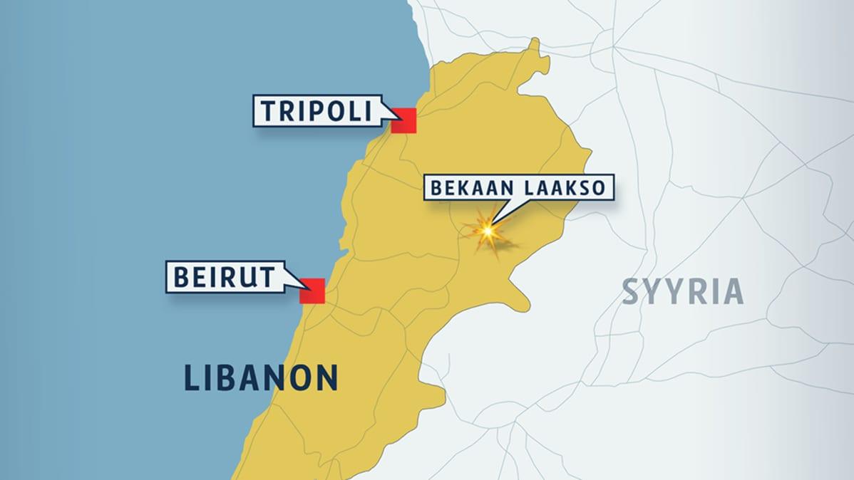 Libanonin kartta, johon merkitty Bekaan laakso.