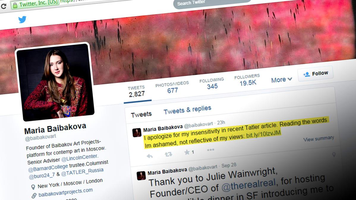 Ruutukaappaus Maria Baibakovan Twitter-tilin etusivusta 2. lokakuuta.