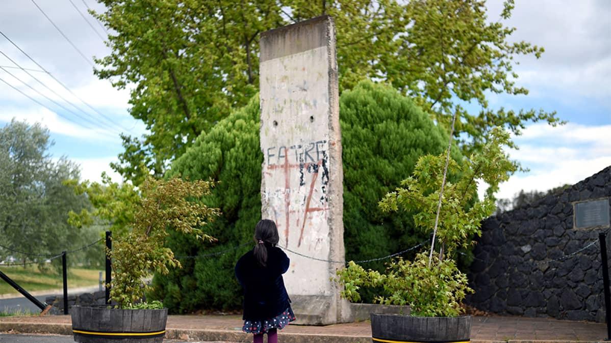 Lohko Berliinin muuria ja pieni tyttö sen edessä.