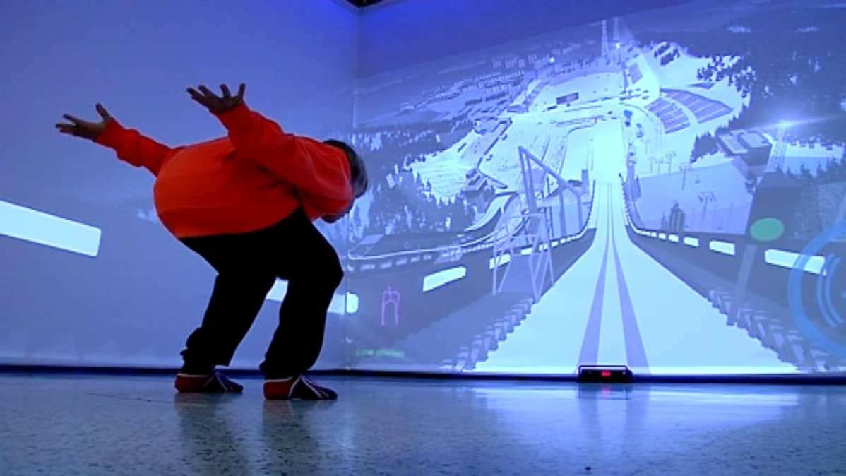 Simulaattorin mallintaa 3D-tekniikalla Lahden suurmäen sentin tarkasti.