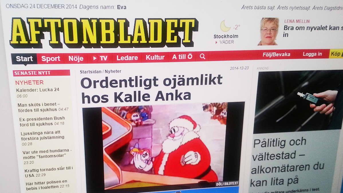 Valokuva Aftonbladet-sivuista.