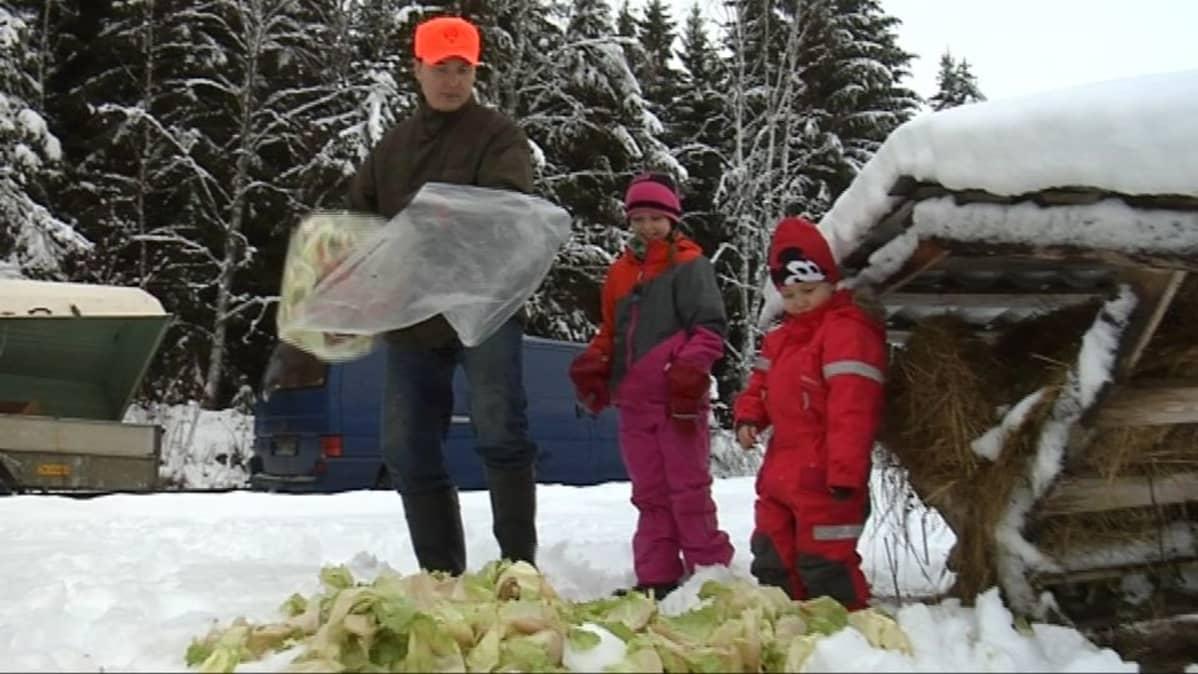 Jussi, Martta ja Veikka Petrelius tuovat ruokaa riistan talviruokintapaikalle.