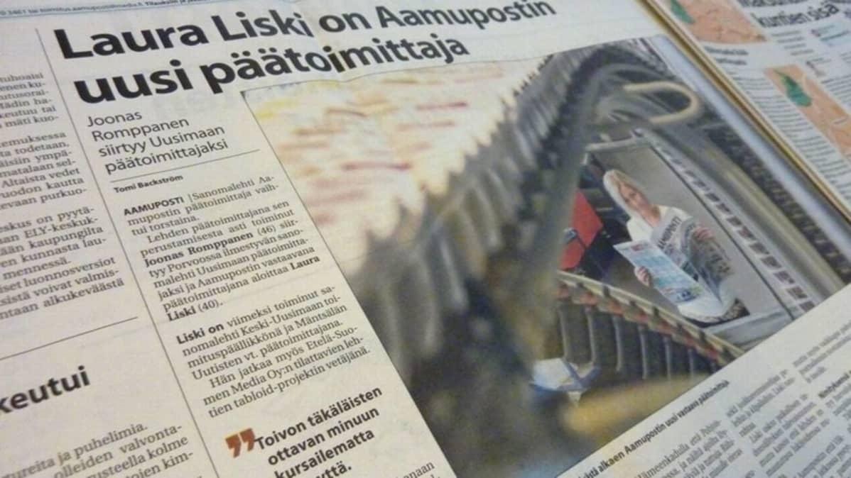 Aamupostin uutinen Laura Liskin päätoimittajanimityksestä lehden sivulla