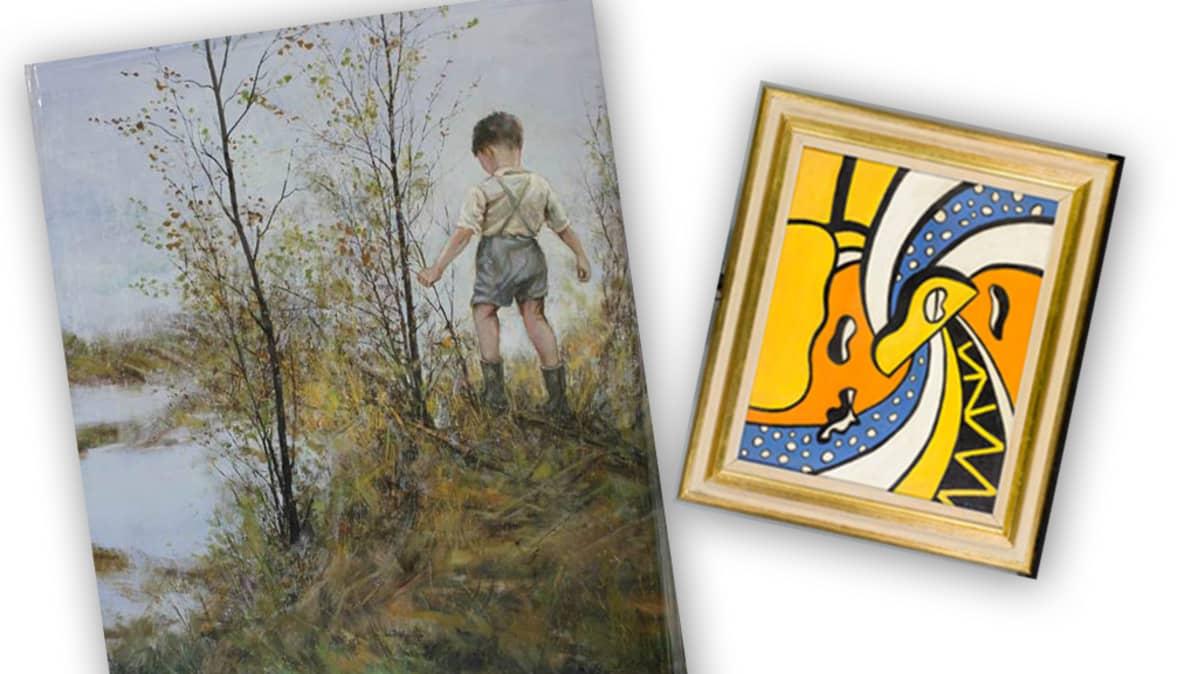 Kuvassa taideväärennöksiä, Ilkka Lammin ja Fernand Légerin teokset.