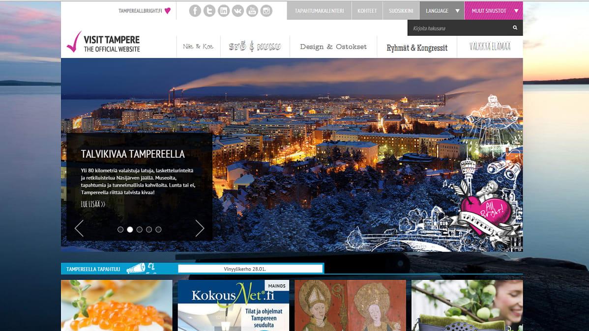 Tampereen seudun VisitTampere.fi -matkailusivusto