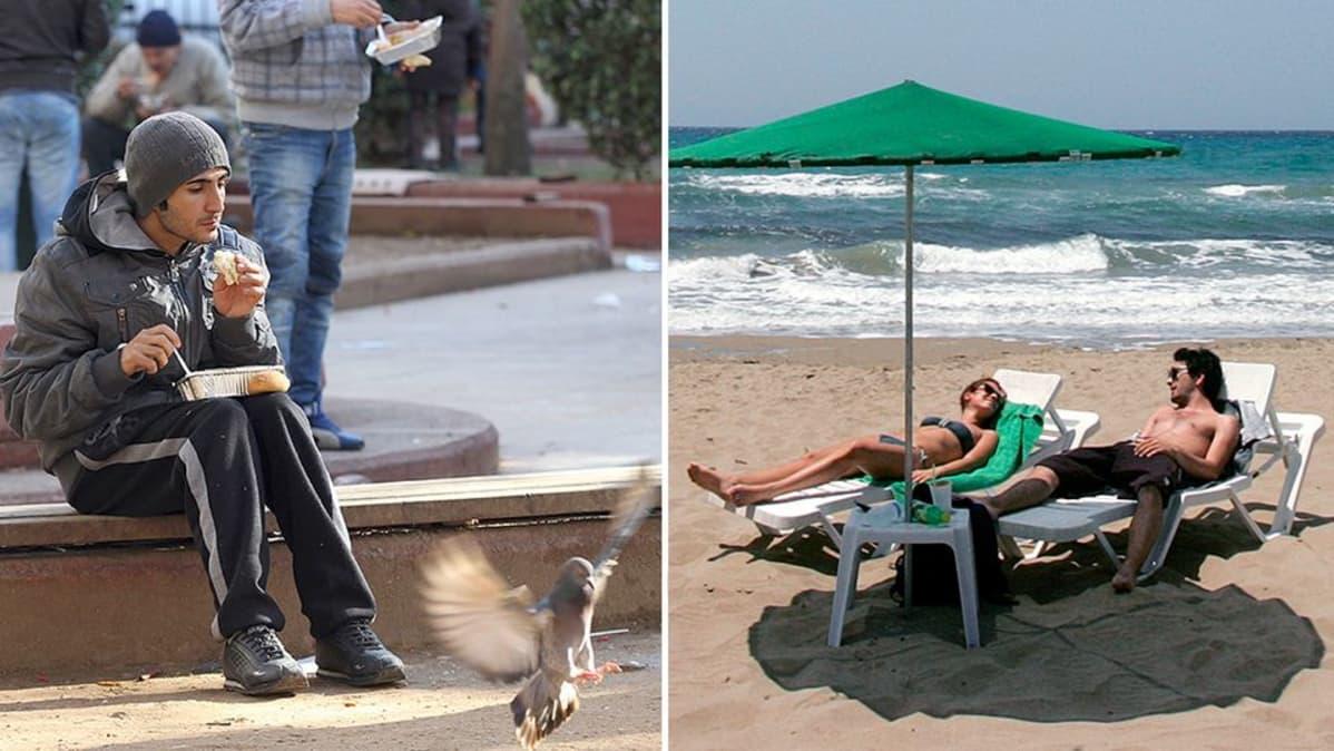 Kreikkalainen mies ruokailee kadulla ja turisteja lojumassa rannalla.